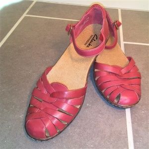 Clarks Red Leather Mary Jane Style Low Heel